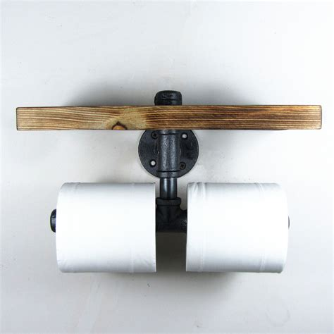 toilet paper shelf urban industrial iron pipe wall mount double toilet paper