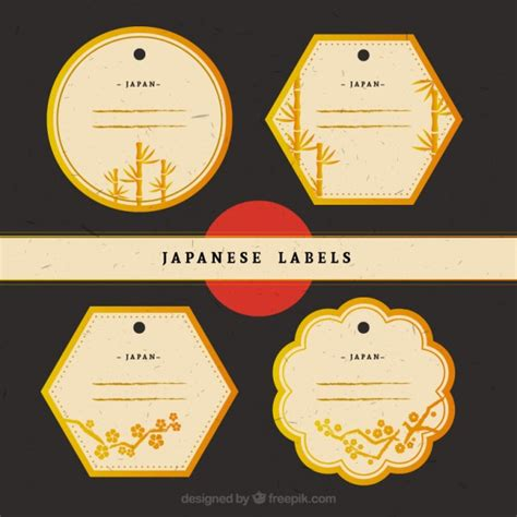 Etiketten Japan by Golden Japanese Labels Vector Free