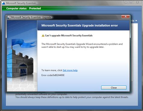 windows security essentials 1 0 error windows 7 help forums