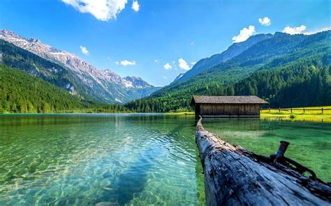 lake nature boathouses mountain landscape log summer