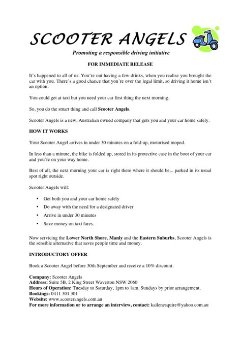 press release template australia sle media release lha productions