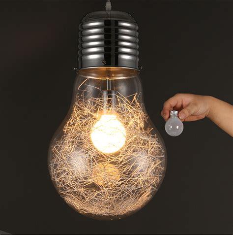 Modern Creative Large Bulb Pendant Lights Glass Bubble Oversized Light Bulb Pendant