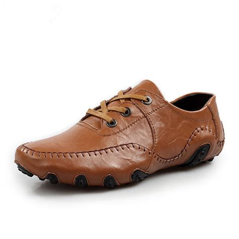 soft oxford shoes stitching driving flat lace up weave leather soft oxford