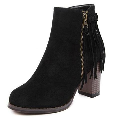 black suede chunky heel fringed ankle boots