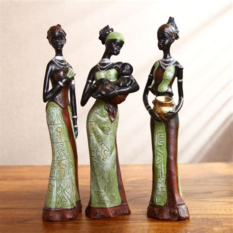 home decor figurines 3 african girls home decor resin figurine folk art home