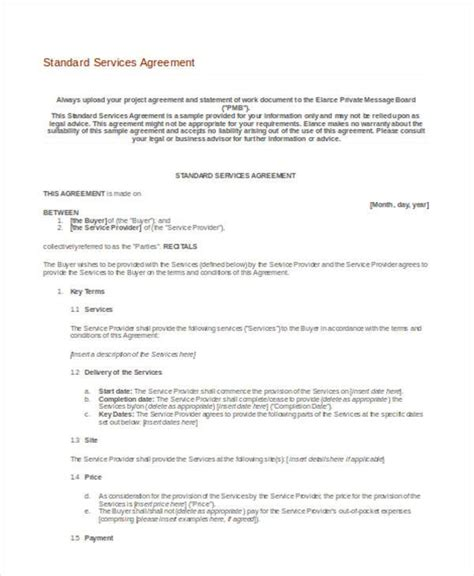 standard service contract template standard service contract paul social media consulting