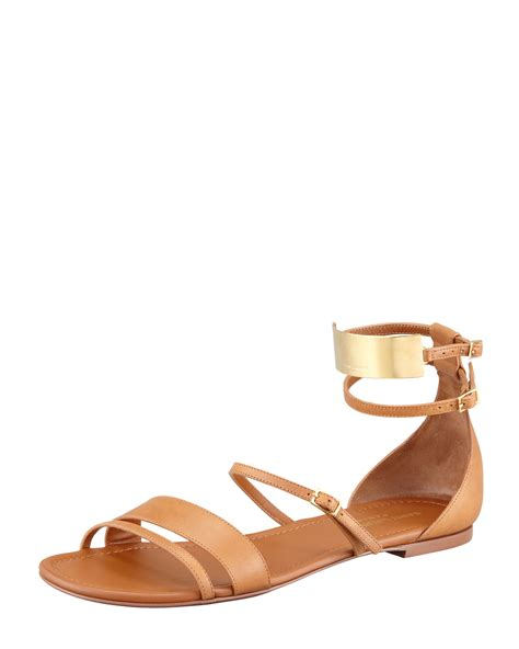 flat strappy sandals laurent womens strappy flat leather sandals cofov