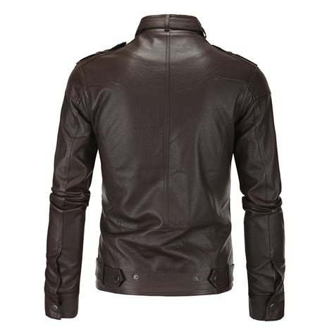 Stand Collar Faux Leather Jacket s zippers stand collar faux leather jacket 119938