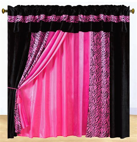 curtains pink new luxury safarina drapes pink black zebra animal valance