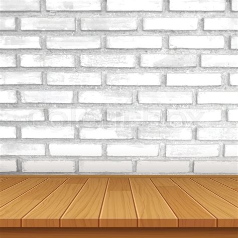 table layout vector vector wood table top on brick wall background stock