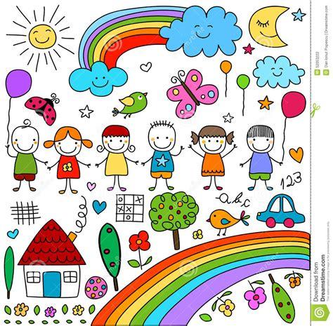imagenes vectores infantiles childlike drawings set stock vector illustration of blue