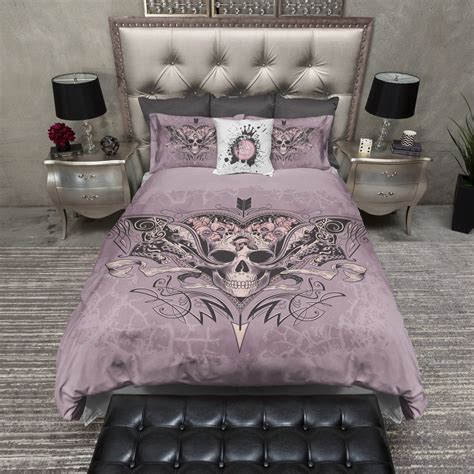 skull bedding lavender rose arrow skull duvet bedding sets ink and rags