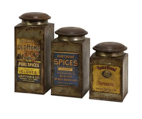 addie vintage label wood and metal canisters set of 3