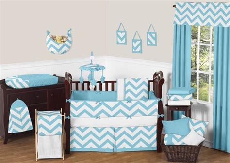 turquoise chevron bedding turquoise and white chevron zigzag baby bedding 9pc crib set by sweet jojo designs