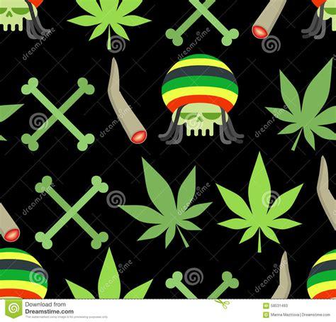 jamaica pattern jamaica drugs seamless pattern rasta skull and leaf