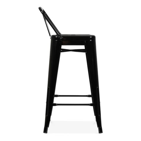 Bar Stool With Back Rest by Style Metal Bar Stool With Low Back Rest Black 65cm