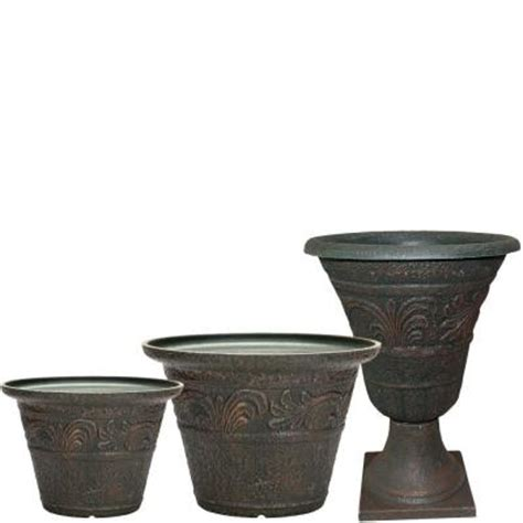 Southern Planters by Southern Patio Tumbled Scroll 20 In X 14 In Rust Resin