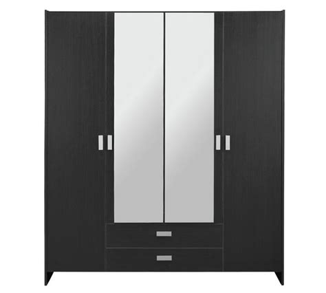 Black Wardrobe Argos - buy argos home capella 4 door 2 drawer mirrored wardrobe
