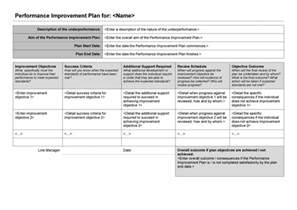 Plan For Improvement Template by 40 Performance Improvement Plan Templates Exles