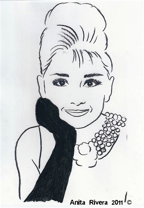 audrey hepburn hair style simple drawings sketches castles crowns and cottages breakfast at tiffanys