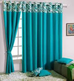Pepperfry Curtains Swayam Turquoise Blue Solid Eyelet Door Curtain By Swayam
