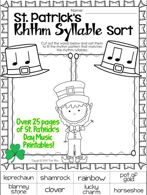s day song worksheets st s day printables for your program