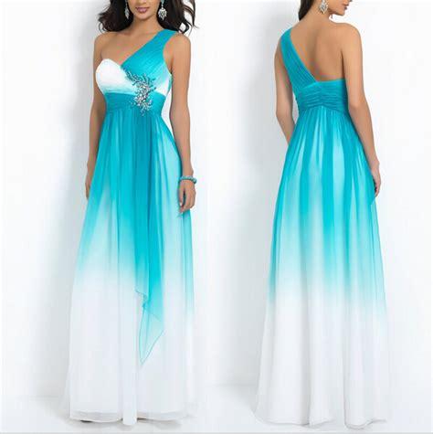 Blue Gradient Dress beading empire one shoulder gradient blue prom dresses 2015 summer style evening