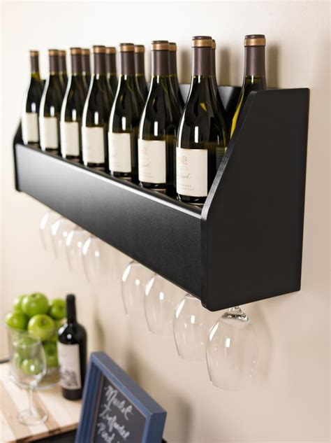 Wine Shelf by Prepac Wall Mounted Floating Wine Rack Black Bsow 0200 1