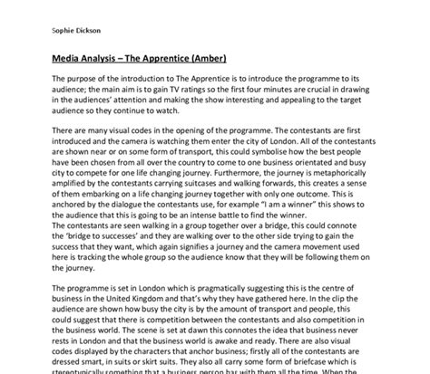Media Analysis Essay by Media Analysis Apprentice Opening A Level Media Studies Marked By Teachers