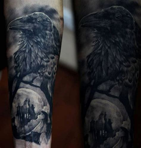 100 raven tattoo designs for men scavenge sooty bird ink