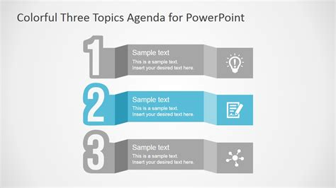 Free Colorful Three Topics Agenda For Powerpoint Slidemodel Microsoft Powerpoint Agenda Template