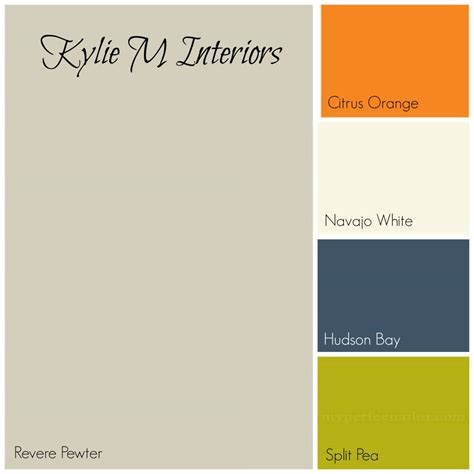 revere pewter gray paint colour palette with orange navy blue and green for best boys