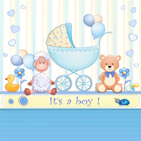 Elegant Boy Baby Cards Cute Design Vector Over Millions Baby Designs For