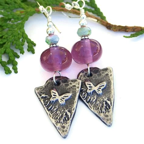 Handmade Unique Jewelry - butterfly arrowhead earrings purple amethyst lwork
