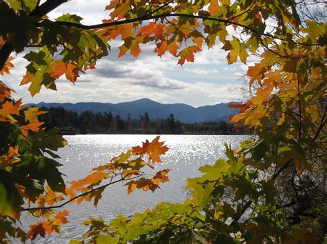 colorful framed view  lake placid fall