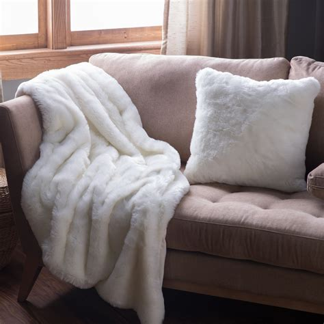 throw blanket on sofa solid white faux fur throw throws at hayneedle