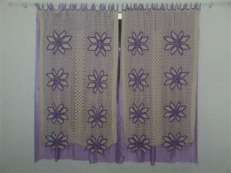 cortina em croche  flor cru  lilas luciana goncalves artesanato elo