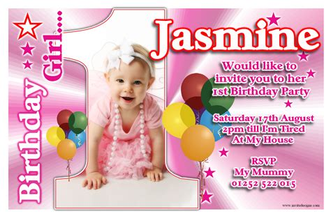 1st Birthday Invitation Card Template Free by 1st Birthday Invitations Free Template Personalised