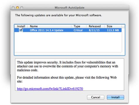 microsoft office for mac 2011 14 5 4 update patches