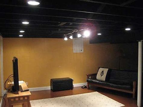 The Black Ceiling by Black Basement Ceiling And Can Lights Basement
