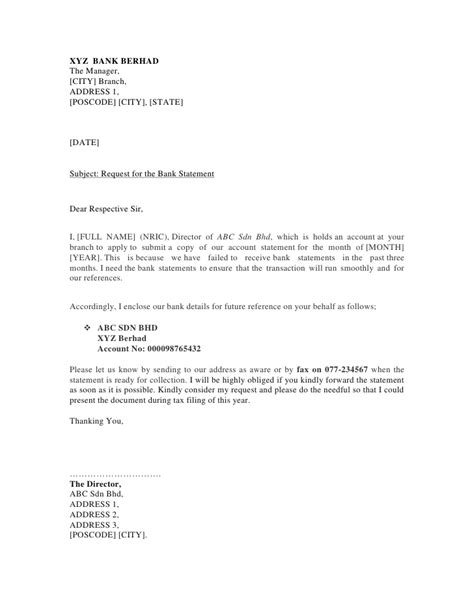 Loan Statement Request Letter To Bank Sle Bank Letter