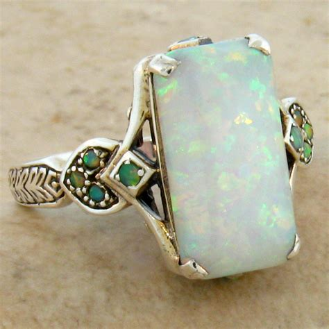 opal antique style 925 sterling silver ring