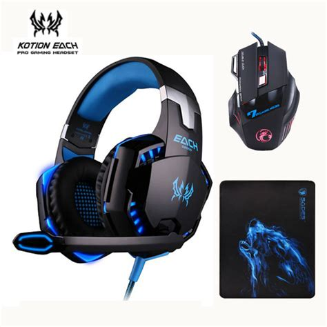 Headset Gaming X7 3pcs combo kotion each g2000 gaming headset headphones with mic estone x7 mouse optical
