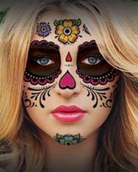 sugar skull face tattoo glitter floral day of the dead sugar skull