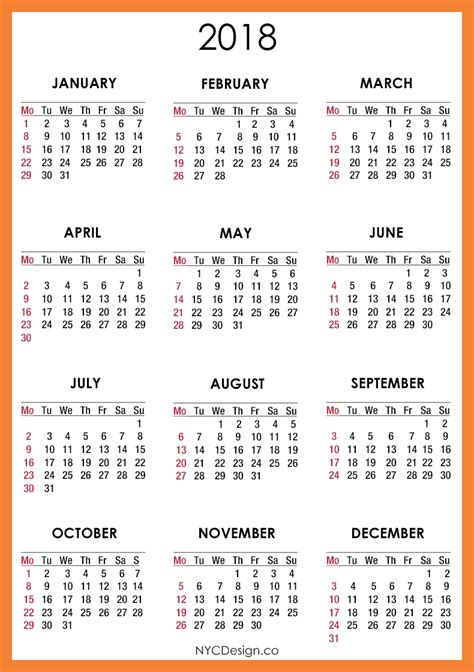 Or Free 2018 Calendar 2018 Printable Free Health Symptoms And Cure