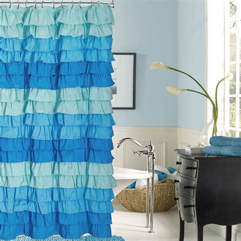 ruffle ombre shower curtain venezia french blue ombre ruffled shower curtain