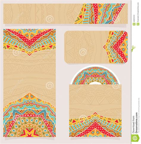 pattern design business branding design with bright ethnic pattern stock vector