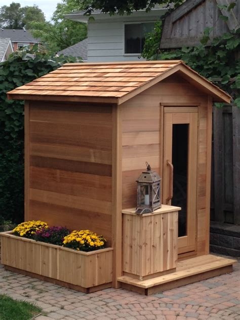 Backyard Sauna by Outdoor Cedar Cabin Sauna 6x4 Dundalk Canada