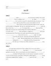 romeo and juliet act iv cloze summary 9th 10th grade