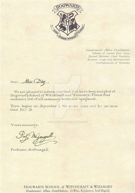 Hogwarts Acceptance Letter Buy Hogwarts Acceptance Letter 1 2 By Desiredwings On Deviantart